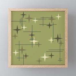 Mid Century Modern Stars Olive Green Framed Mini Art Print