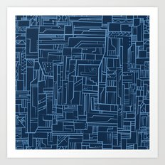 Electropattern (Blue) Art Print