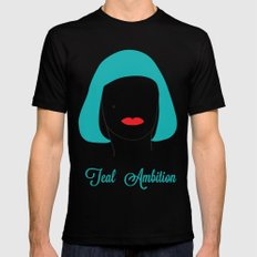 Teal Ambition Mens Fitted Tee Black MEDIUM