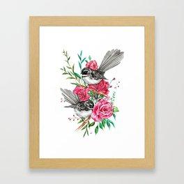 Floral Piwakawakas Framed Art Print