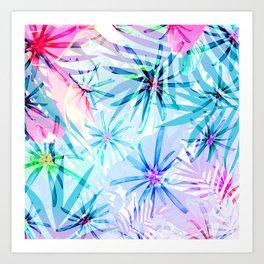 Flashy Colorful Tropical Flowers Design Art Print