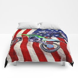 High Flying Freestyle Motocross Rider & US Flag Comforters