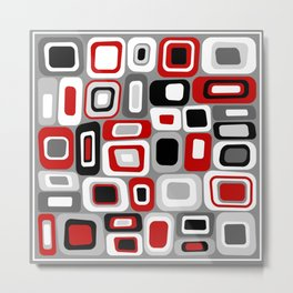 Mid Century Modern Squares and Rectangles // Red, Gray Black, White Metal Print