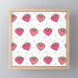 cute lovely heart strawberries pattern background Framed Mini Art Print