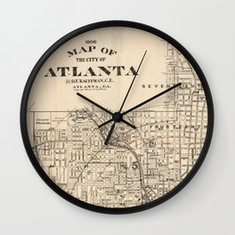 1906 Map of Atlanta, GA Wall Clock