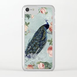 Vintage Victorian Peacock Bird and Roses Illustration Clear iPhone Case