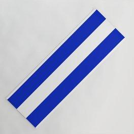 Cobalt Blue and White Wide Cabana Tent Stripe Yoga Mat