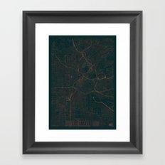 Los Angeles Map Red Framed Art Print