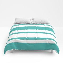 Mixed Horizontal Stripes - White and Verdigris Comforters