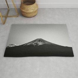 Mount Fuji Volcano in Grayscale Rug