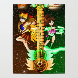 Fusion Sailor Moon Guitar #20 - Sailor Venus & Sailor Jupiter Poster