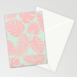 Tropical Leaves - Blush on Aqua Stationery Cards