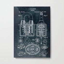 1885 - Padlock patent art Metal Print