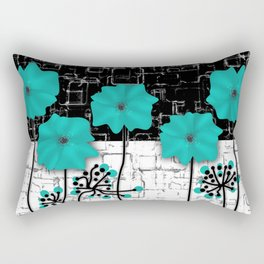 Turquoise flowers on black and white background . Rectangular Pillow