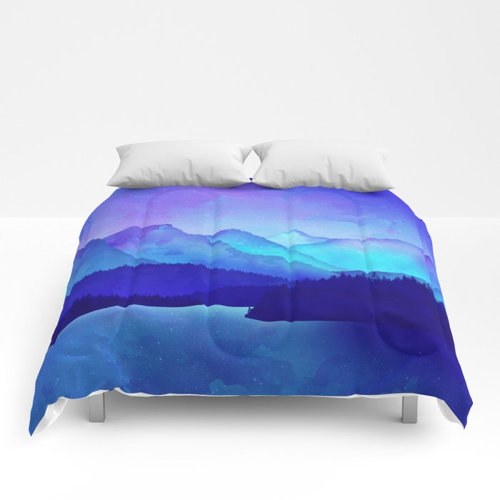 Cerulean Blue Mountains Comforters