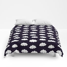 Sleeping cute clouds in black and white Comforters