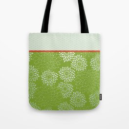 Dahlia Scallops Green and Orange Tote Bag
