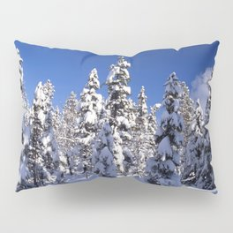 Snow covered trees in the forest. Winter day with blue sky. Pillow Sham