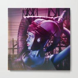 Purple Lady Wields Sword Metal Print