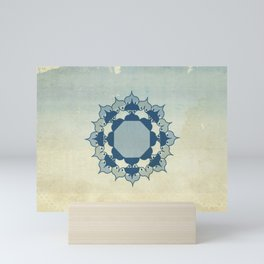 Lotus Mandala Light Blue Center Sand Water Wash Mini Art Print