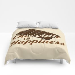 Chocolate is happiness Comforters