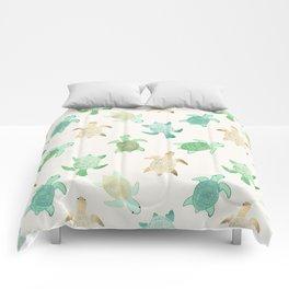 Gilded Jade & Mint Turtles Comforters