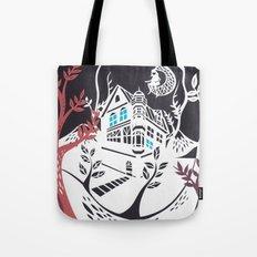 Round Tree House Tote Bag