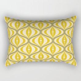 Retro Mid-Century Saucer Pattern in Yellow, Gray, Cream Rectangular Pillow