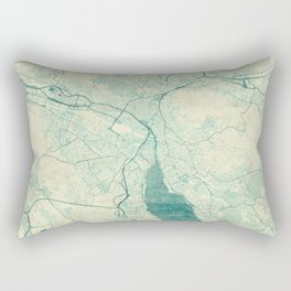 Zurich Map Blue Vintage Rectangular Pillow