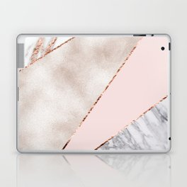 Spliced mixed rose gold marble Laptop & iPad Skin