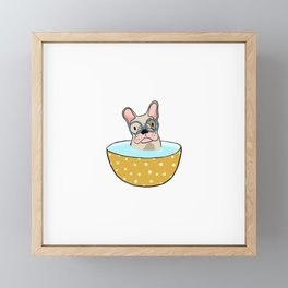 French pug bulldog dog in a mug Framed Mini Art Print