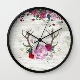 White Wood with Romance Flowers Wall Clock