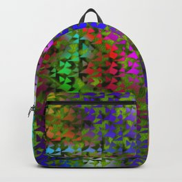 Green curtain on colored background Backpack