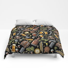 Beer Makes The World Go Round - Black Pattern Comforters