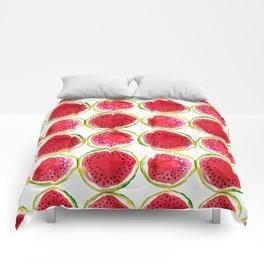Watercolor watermelon fruit illustration Comforters