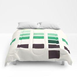 Colorful Teal Turquoise Deep Green Mid Century Modern Minimalist Square Geometric Pattern Comforters