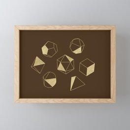 Dice Outline in Gold + Brown Framed Mini Art Print