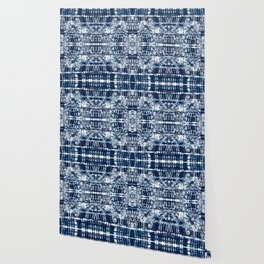 Blue Tie-Dye Spiral Stripe Wallpaper