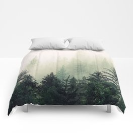Foggy Pine Trees Comforters