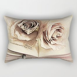 Roses on Book Library Art A113 Rectangular Pillow