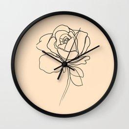 yellow rose line art Wall Clock