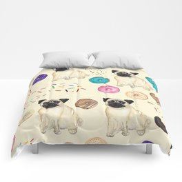 Pugs and donuts sweet sprinkles Comforters