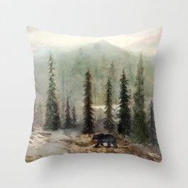 Mountain Black Bear Throw Pillow