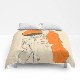 "Egon Schiele ""Standing Nude with Orange Drapery"" Comforters"