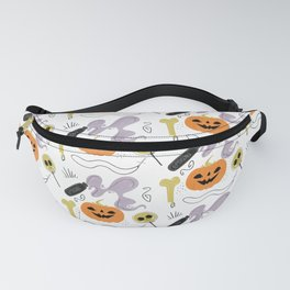 Happy halloween pumpkins, poison, bones and candies pattern Fanny Pack