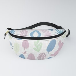 Geometrical blue pink mint green floral pattern Fanny Pack