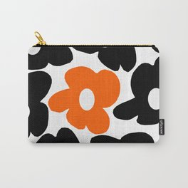 Large Orange and Black Retro Flowers White Background #decor #society6 #buyart Carry-All Pouch