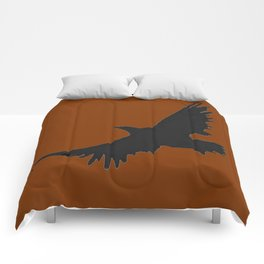COFFEE BROWN FLYING BIRD SILHOUETTE Comforters