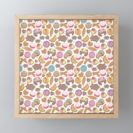 Mexican Sweet Bakery Frenzy // white background // pastel colors pan dulce Framed Mini Art Print