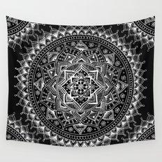 White Flower Mandala on Black Wall Tapestry